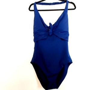 10 LOFT Navy Blue Halter Strap Swimsuit NWT - Bow Front One Piece